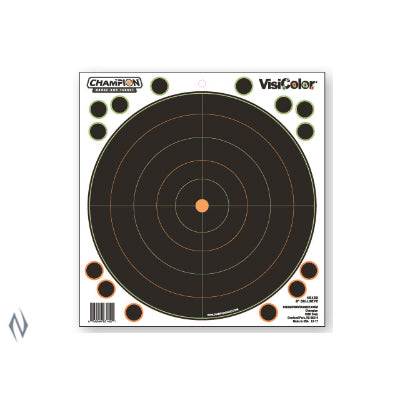 CHAMPION TARGET VISICOLOR ADHESIVE BULLSEYE 8 inch 5 PACK + PATCHES - SKU: CH46136, Amazon, champion, ebay, paper-targets, Shooting-Gear, Targets-Target-Holders, under-50