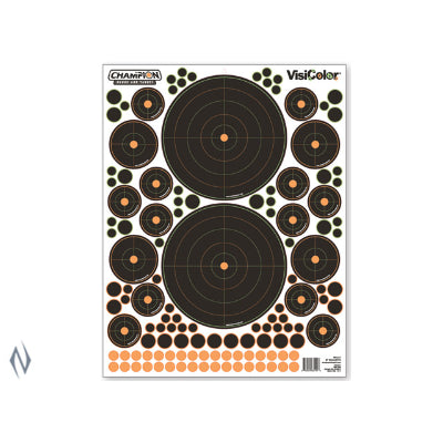 CHAMPION TARGET VISICOLOR ADHESIVE BULLSEYE VARIETY 5 PACK + PATCHES - SKU: CH46137, Amazon, champion, ebay, paper-targets, Shooting-Gear, Targets-Target-Holders, under-50