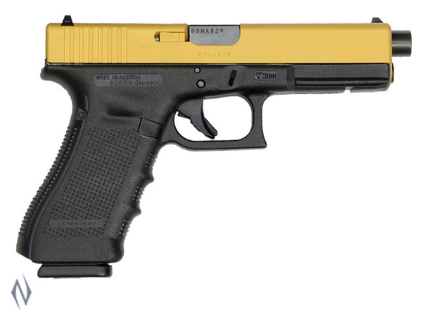 GLOCK 17A 9MM FULL SIZE 10 SHOT GEN4 122MM GOLD CERAKOTE - SKU: GLOCK17AG4GOLD a  from GLOCK sold by the best firearms store in Australia - Safari Firearms