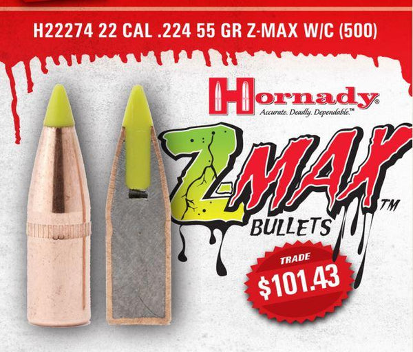 HORNADY - 22 CAL .224 55 GR Z-MAX W/C - SKU: H22274, 100-200, Components, hornady, projectiles, Reloading-Supplies