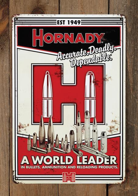 HORNADY - HORANDY VINTAGE TIN SIGN - SKU: H99101, 50-100, ebay, hornady, shooting-accessories, Shooting-Gear