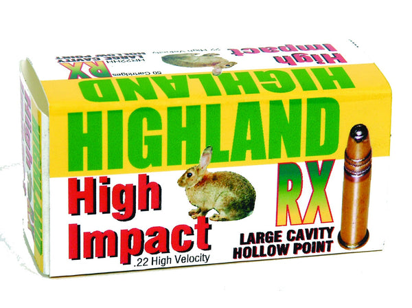 HIGHLAND - .22lr RX High Velocity, Deep Hollow Point 36gr - SKU: HR22HH
