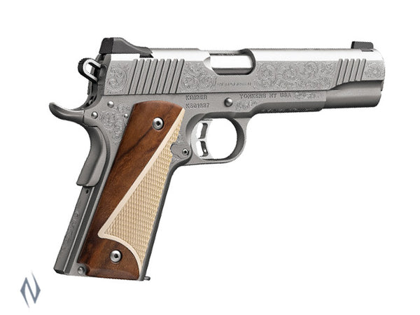 KIMBER 1911 STAINLESS II CLASSIC ENGRAVED EDITION 45 ACP 127MM - SKU: K-SIICE45 a  from KIMBER sold by the best firearms store in Australia - Safari Firearms