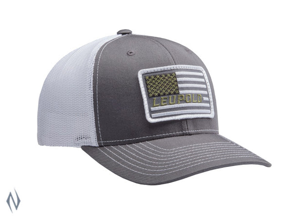 LEUPOLD #112 FLAG PATCH TRUCKER CAP CHARCOAL / WHITE OS - SKU: LE172603 a  from LEUPOLD sold by the best firearms store in Australia - Safari Firearms