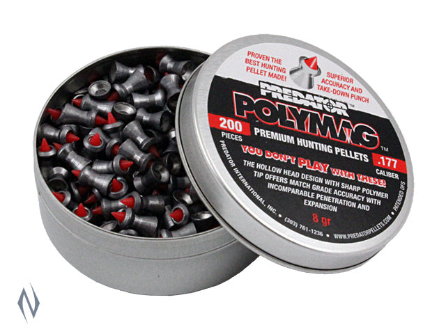 PREDATOR POLYMAG PELLETS 177 CAL 8GR 200 PK - SKU: PP177 a  from PREDATOR sold by the best firearms store in Australia - Safari Firearms