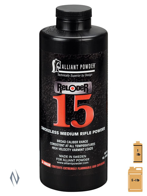 ALLIANT RELODER 15 1LB .454KG - SKU: REL15-1, 50-100, alliant, Components, propellant-powder, Reloading-Supplies