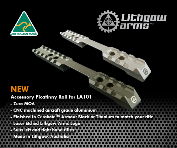 LITHGOW ARMS - LA101 Black Rail - SKU: 38209-1BK2, 100-200, ebay, lithgow, LITHGOW ARMS, Optics, picatinny-rails, Scope-Bases-Mounts