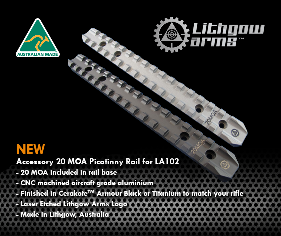 LITHGOW ARMS - LA102 Titanium Rail 20MOA - SKU: 37219-1GY1, 100-200, ebay, lithgow, LITHGOW ARMS, Optics, picatinny-rails, Scope-Bases-Mounts