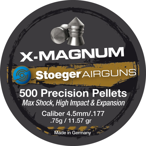 STOEGER PELLETS X-MAGNUM POINT .177 (500) - SKU: HNXMAGNUM/.177, air-gun-pellets, Ammunition, stoeger, under-50