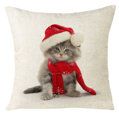 Christmas Cat Home Throw Pillow Cover