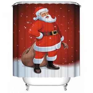 Christmas Shower Curtain - Waterproof Polyester Fabric 3D 12 Rings Hooks
