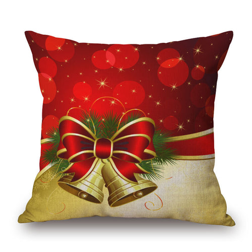 Christmas Bells Linen Square Throw Pillow Cover $5 Special