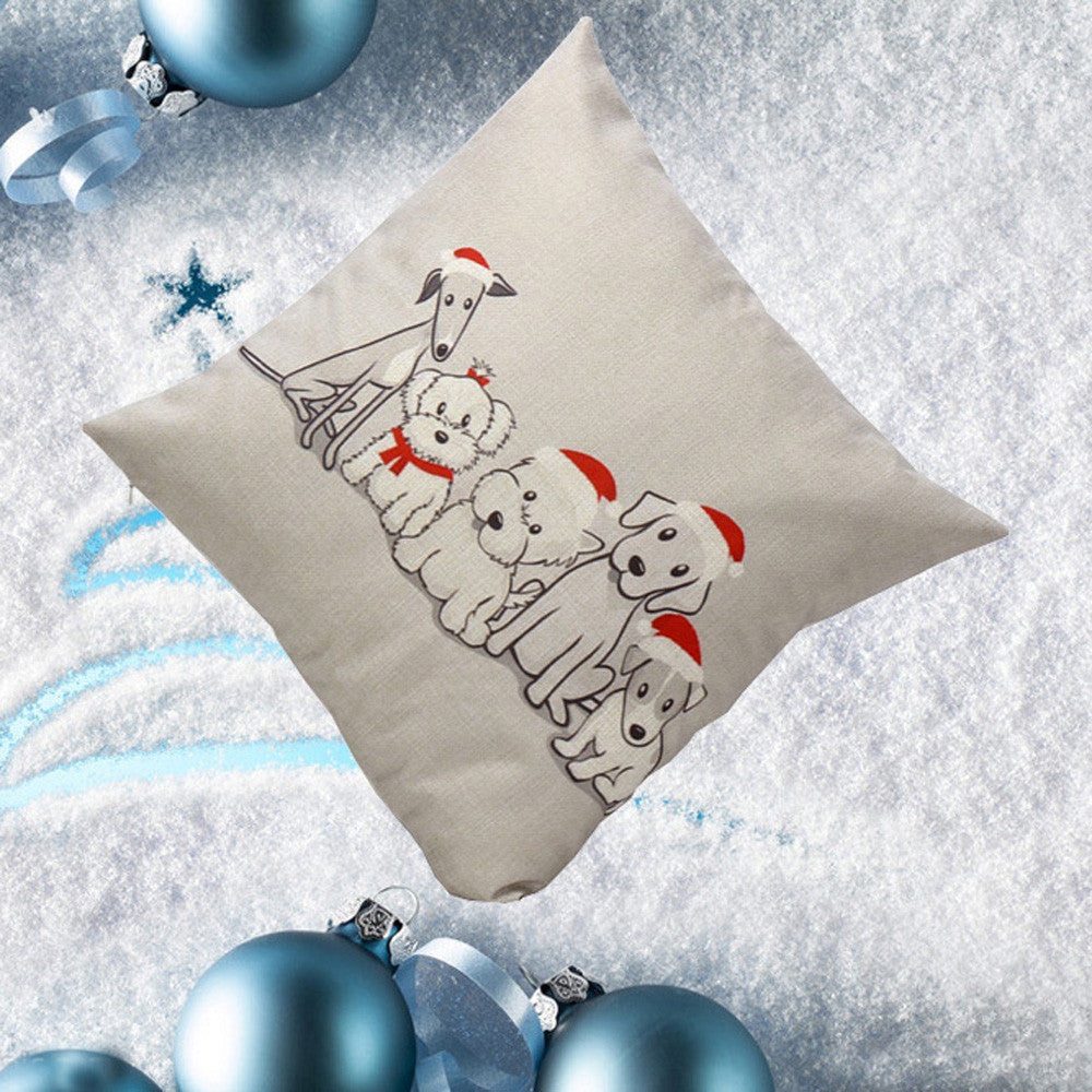 Christmas Puppies Throw Pillow Cover