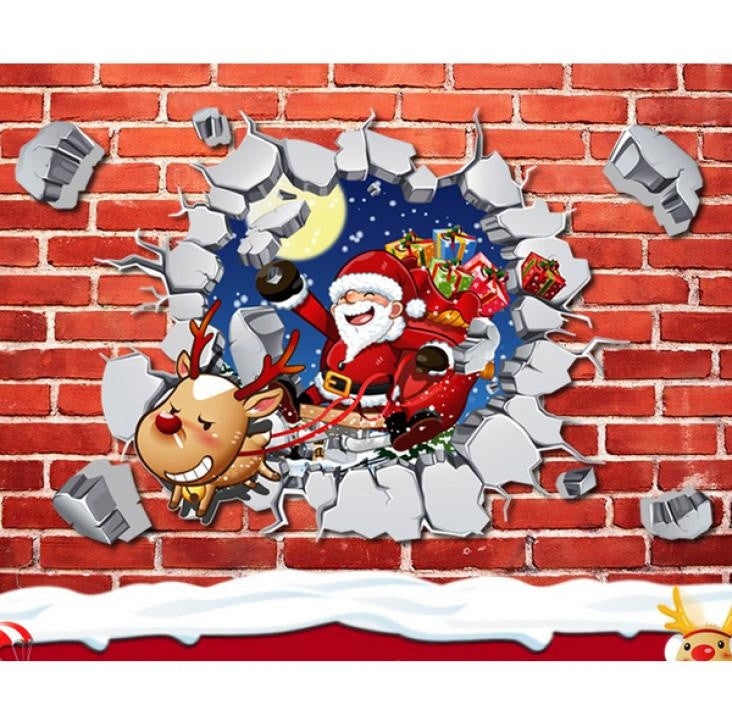 Removable 3D Santa Claus Reindeer Christmas Window Wall Sticker