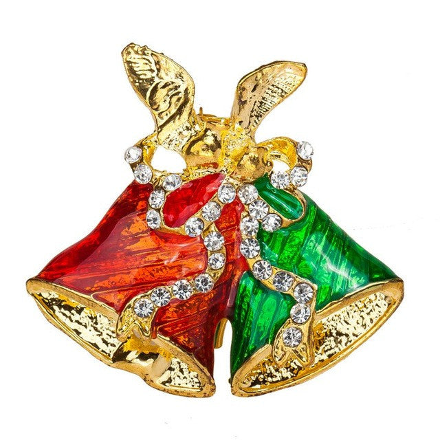 Christmas Bells Rhinestone Brooch Jewelry