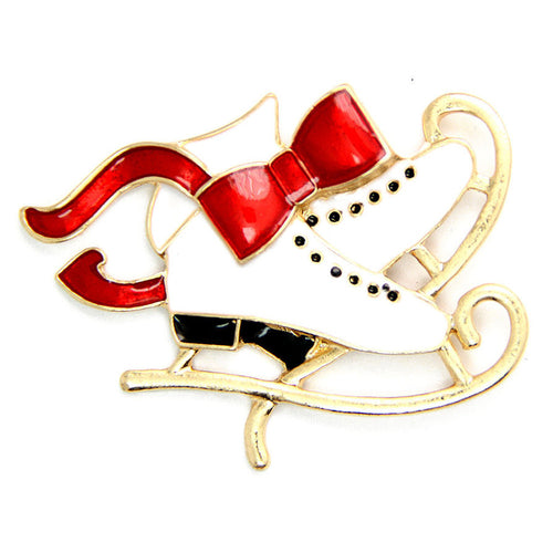 Christmas Skates Brooch