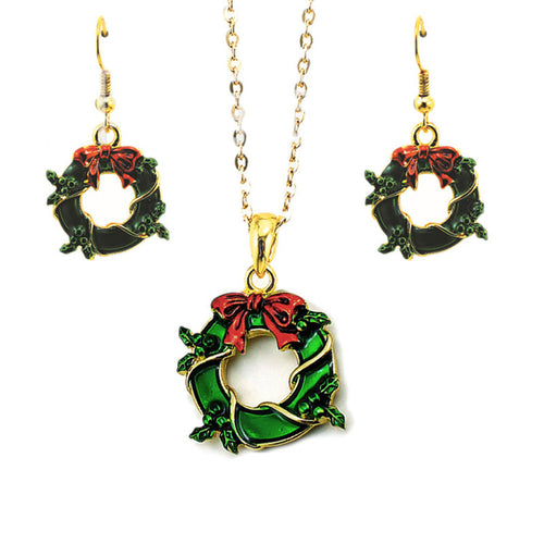 Christmas Wreath Necklace & Earrings Set