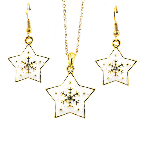 Star Snow Flake Necklace Pendant Earrings Set