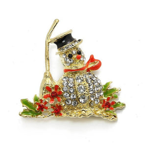 Christmas Snowman Crystal Brooch Pin