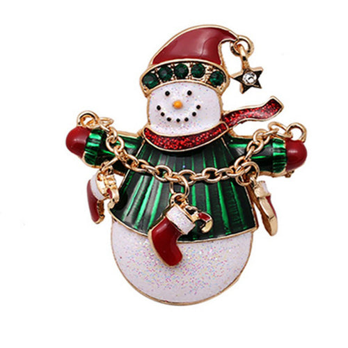 Snowman Brooch Gold Crystal Jewelry