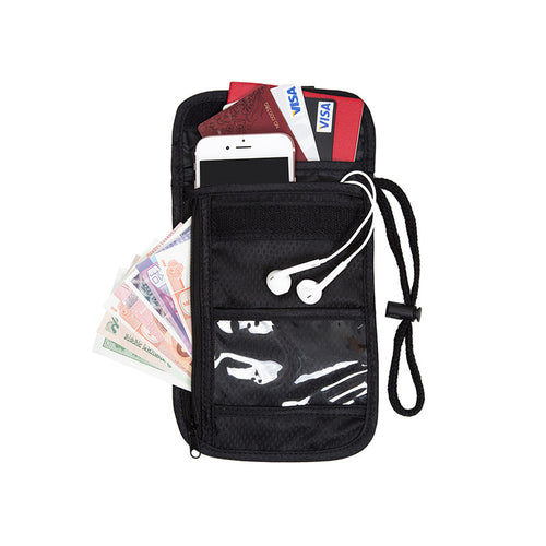 BAGSMART Adjustable Strap Travel Passport Cover Over Security Black Neck Wallet Pocket Vault Travel Neck Pouch For ID Card