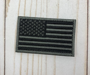 USA Flag Patch - Black & Gray