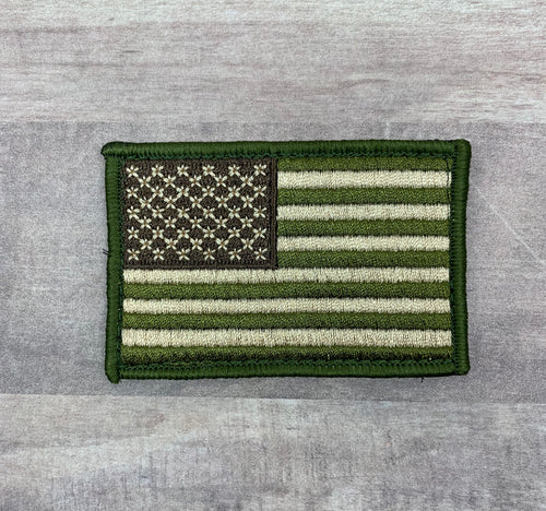 USA Flag Patch - OD Green