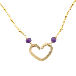 Heart Center Necklace  - Amethyst