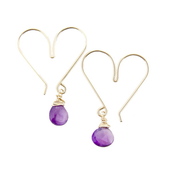 Gemstone Heart Hoops Small - Amethyst