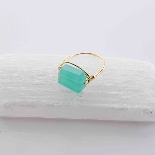 Aqua Chalcedony Wire Wrapped Ring