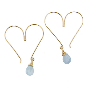 Gemstone Heart Hoops - Aquamarine