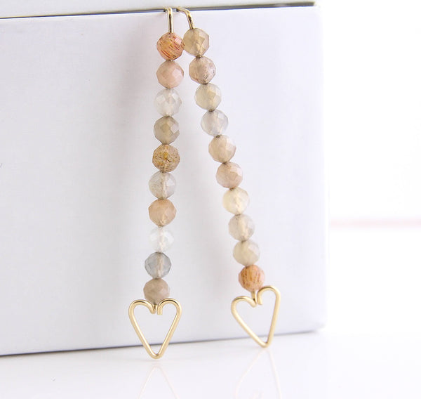 Heart Arrow Earrings - Peach Moonstone