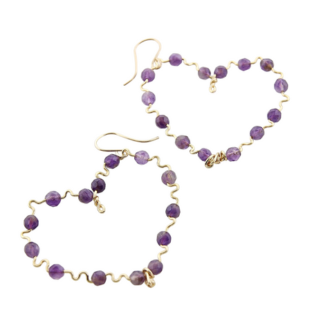 Beaded Hearts - Amethyst