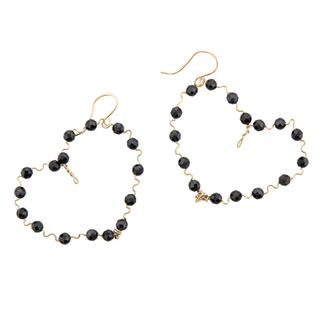 Beaded Hearts - Black Onyx