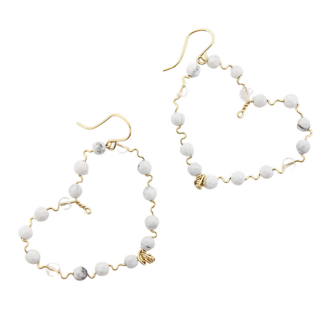 Beaded Hearts - Howlite