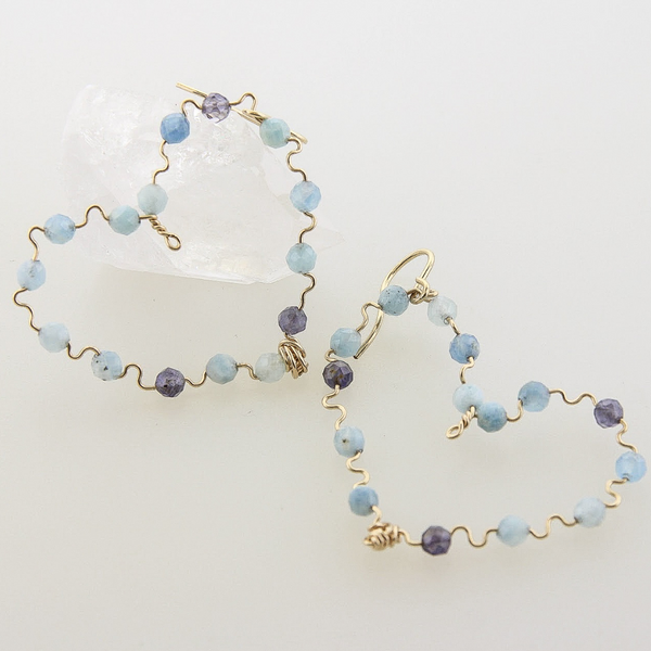 Beaded Hearts - Aquamarine & Iolite