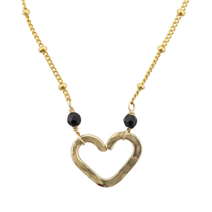 Heart Center Necklace  - Black Onyx