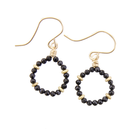 Micro Gem Earrings - Black Onyx