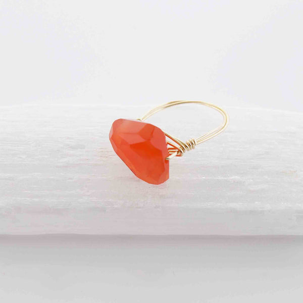 Carnelian Wire Wrapped Ring