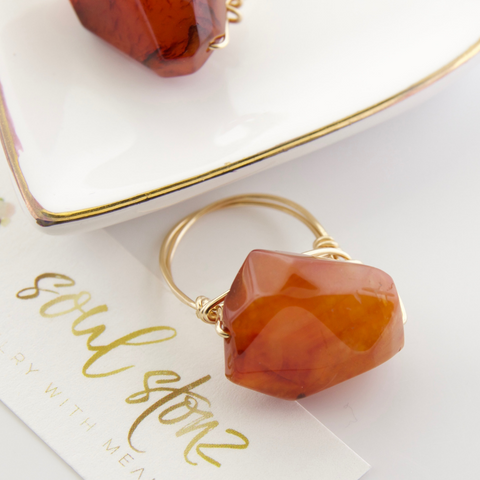 Large Carnelian Nugget Rings