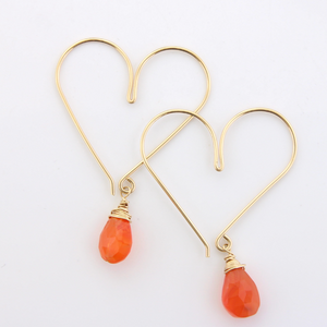 Gemstone Heart Hoops - Carnelian