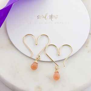 Gemstone Heart Hoops Small - Peach Moonstone
