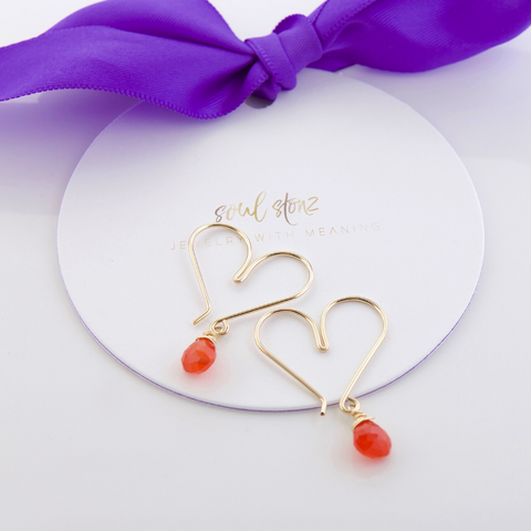 Gemstone Heart Hoops Small - Carnelian