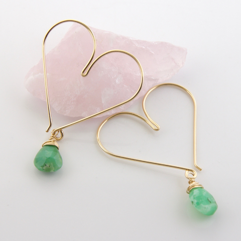 Gemstone Heart Hoops - Chrysoprase Medium