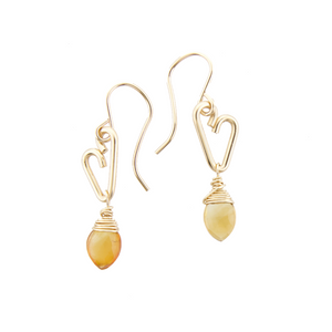 Heart Drop Earrings - Citrine - Small