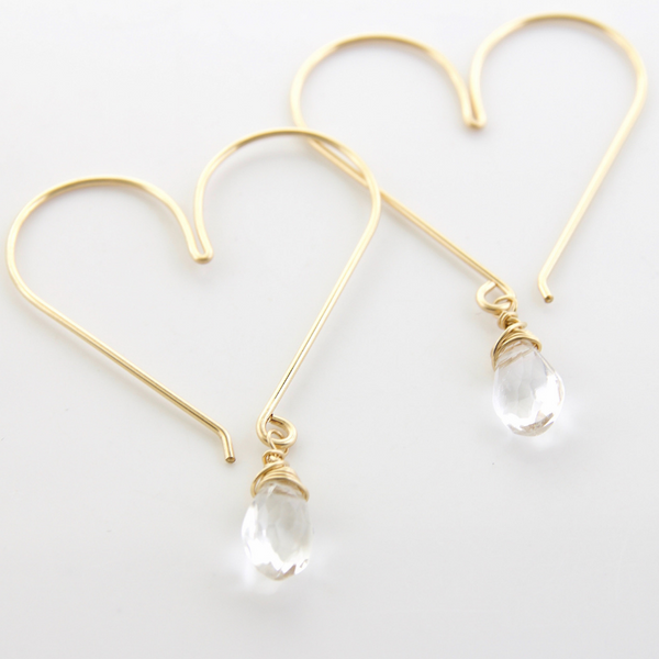 Gemstone Heart Hoops - Crystal Quartz Medium