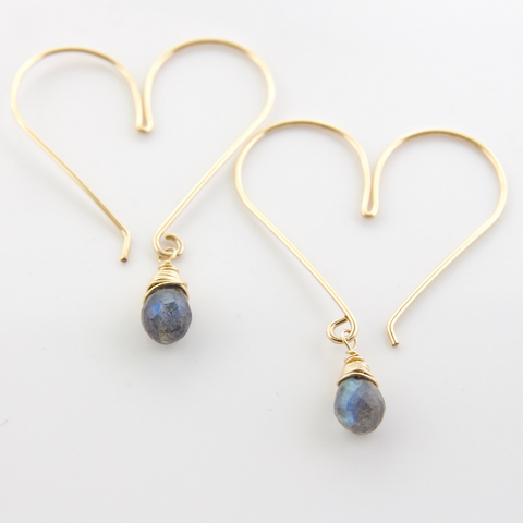 Gemstone Heart Hoops - Labradorite Medium