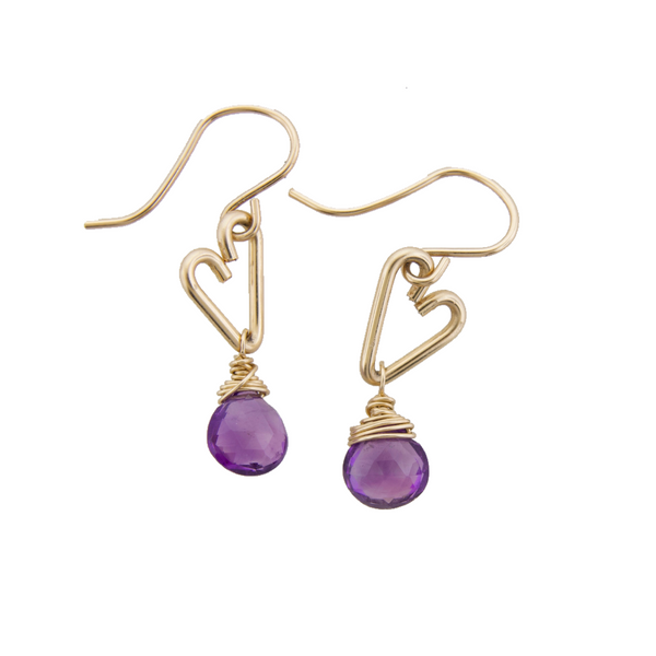 Heart Drop Earrings - Amethyst - Small