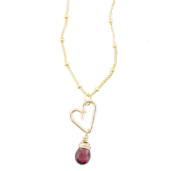 Heart Drop Necklace  - Garnet