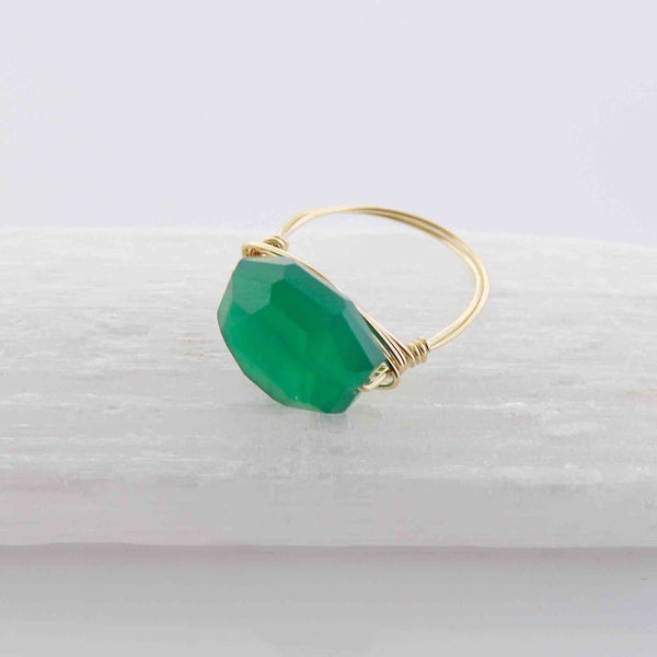 Green Onyx Wire Wrapped Ring